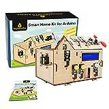 KEYESTUDIO Smart Home Starter Kit for Arduino for Uno R3, Electronics Home Automation Coding Toys, Wooden House DIY Sensor Kit STEM Educational Set for Kids Adults Teens