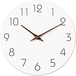 Wall Clock - Silent Non-Ticking 10 Inch Wall Clocks Battery Operated - Modern Style Wooden Clock Decorative for Kitchen,Home,Bedrooms,Office(White)