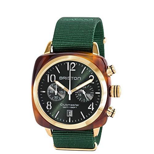 Briston–Clubmaster Classic acetato–Cronografo Oro/Verde Inglese