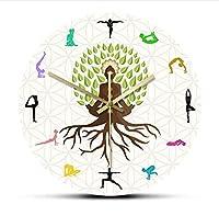 ロータスポーズツリー装飾壁時計瞑想のための自然エネルギーウォールアートヨガスタジオ生命の木カラフルなプリント壁時計-フレームなし