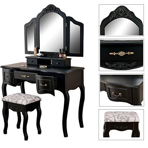 Gemani grote make-uptafel kaptafel met 3 spiegels en kruk kleur zwart