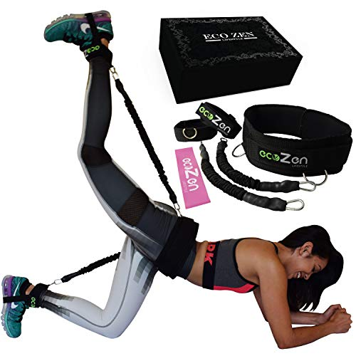 ecoZen Lifestyle Booty Bands with Adjustable Belt | 3 Adaptable Levels of Resistance | Unique Sauna Stimulus Technology | Ideal Resistance Bands for Legs and Butt | Fast Visible Result (Black)