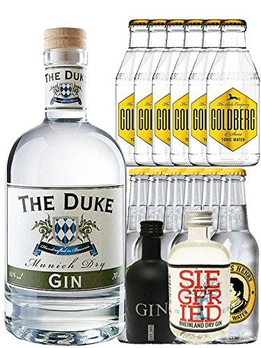 Gin-Set The Duke München Dry BIO Gin 0,7 Liter + Black Gin Gansloser Deutschland 5cl + Siegfried Dry Gin Deutschland 4cl + 6 x Thomas Henry Tonic Water 0,2 Liter, 6 x Goldberg Tonic Water 0,2 Liter