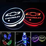 SUMUPUT LED Car Cup Holder Lights for Chevrolet Accessories, 7 Colors Changing USB Charging Mat Luminescent Cup Pad, Auto LED Interior Atmosphere Lamp, Car Logo Coaster (2 PCS)