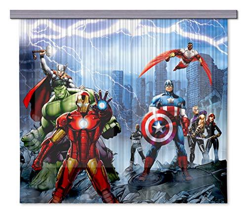 AG Design Avengers Marvel Kinderzimmer Gardine/Vorhang, Stoff, Mehrfarbig, 0. 1 x 180 x 160 cm, 2