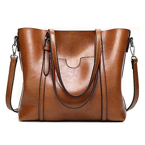 Pahajim Women Womens Leather Purses and Handbags Top Handle Satchel Bags Crossbody Handbags Bucket Tote Bags for Women (Brown)