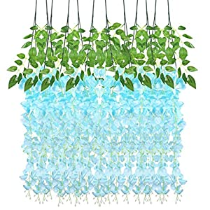 BESPORTBLE 2. 95Ft Artificial Wisteria, 12Pcs Artificial Silk Vine- Artificial Ivy Vine Garland Hanging for Wedding Party Garden Outdoor Greenery Office Wall Decoration