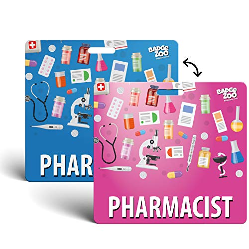 Pharmacist Badge Buddy Blue/Pink Horizontal Heavy Duty with Medical Themed Icons Identification Card - by BadgeZoo