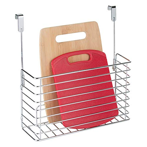 iDesign Classico Metal Over the Cabinet Kitchen Bakeware Organizer Basket for Cutting Boards, Baking Sheets, Pans, 13.73' x 5.18' x 14.2' - Chrome