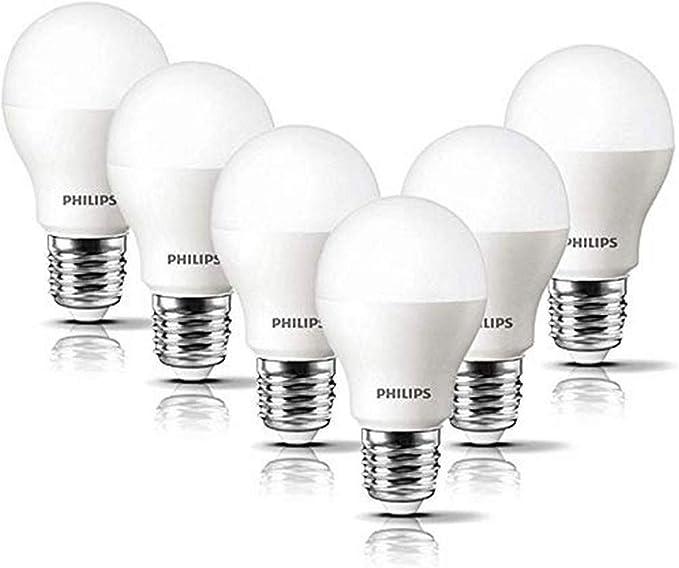 TALLA 6. Philips Bombilla LED esférica casquillo E27, 8 W, equivalente a 60 W, luz blanca cálida, 806 lúmenes, pack de 6