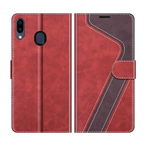 MOBESV Handyhülle für Samsung Galaxy M20 Hülle Leder, Samsung Galaxy M20 Klapphülle Handytasche Hülle für Samsung Galaxy M20 Handy Hüllen, Modisch Rot