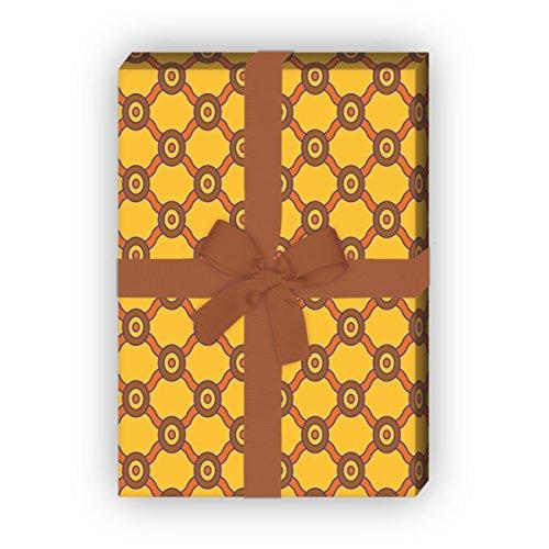 Kartenkaufrausch Designer ruiten cadeaupapierset, decoratiepapier, patroonpapier om in retro stijl, geel, voor lieve geschenkverpakking, doe-het-zelf projecten, knutselen, 4 vellen, 32 x 48 cm