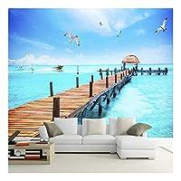 3D壁紙海木製橋セーリングカモメ風景壁画リビングルーム寝室壁紙3D