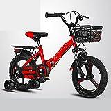 ZEMENG Bicicleta para niños Plegables, Bicicleta de 4 Ruedas, Bicicleta de niña, Bicicleta para niños Durante 2-7 años,Rojo,18'