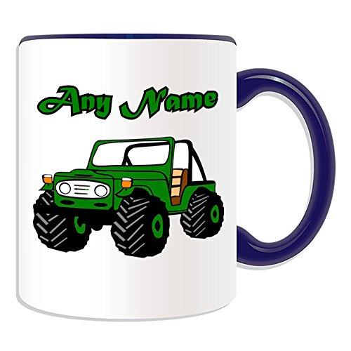 Personalisiertes Geschenk–offen Landi Jeep Tasse (Design Thema, Farbe Optionen)–Für jede Nachricht/Name auf Ihrem Einzigartig–Fahrzeug SUV Auto Automobil-Treiber LKW OFFROAD Hummer High Mobility Multipurpose Wheeled Vehicle HMMWV, keramik, blau