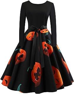 01ac2b1e9b3 Femmes Robes Soirée Vintage 1950 s Audrey Hepburn pin-up Noël Imprimé  Manches Longues A -