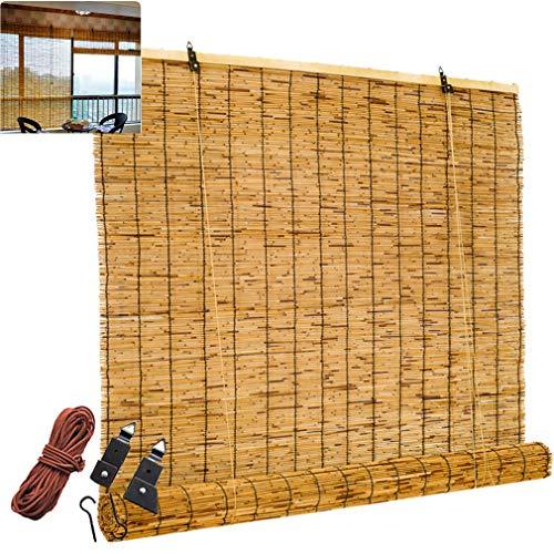 FENGSHOUU Persianas Enrollable de Caña Tejidas a Mano,Estores Ventana de Bambú Natural,Cortina Opacas Sombrilla Impermeable, Persiana de Decoración de Paja,Prueba de Polvo,Personalizable