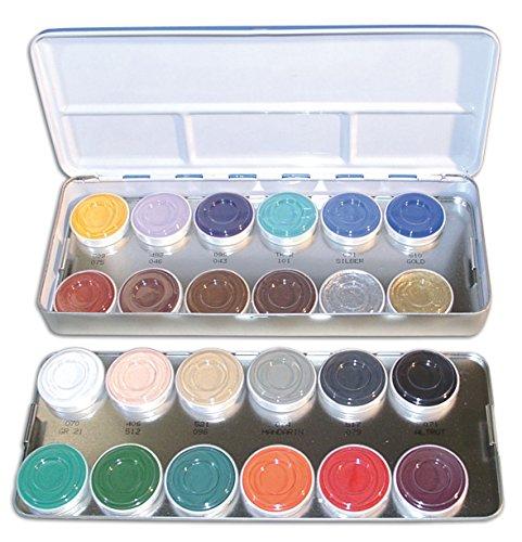 Aquacolor KRYOLAN maquillaje PALETA DE COLORES de metal 24