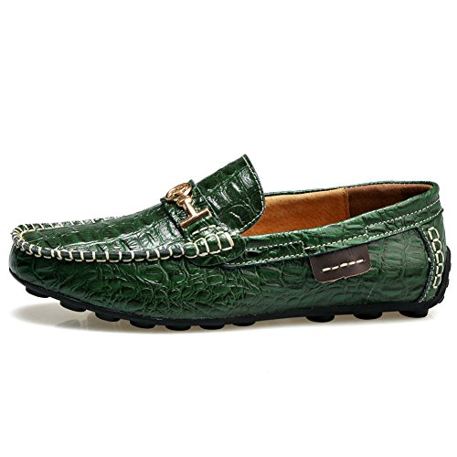 Rismart Mens Stylish Crocodile Print Leather Driving Shoes Water Resistant Cool Leather Loafer Flats Green 1314 US9