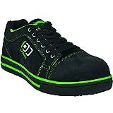 ruNNex Sicherheitsschuh S3 '5344' SportStar Leichter Arbeitsschuh mit Alukappe im Sneaker Chuck Look Leder, schwarz-grün, Größe 44