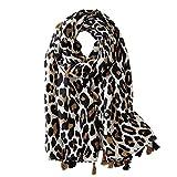 Soudittur Bufanda de mujer Algodón largo Estampado de leopardo Bufanda de Invierno Otoño Grande 180 * 100cm (Beige)