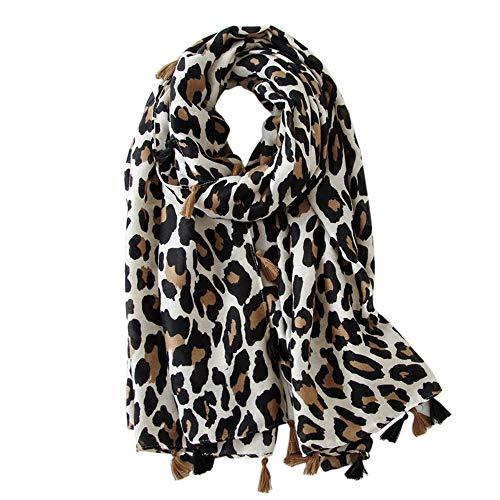 Soudittur Damen Schal Leopardenmuster Winter Warmer Halstücher mit Fransen - Übergroßer 180 * 100 cm (Beige)