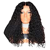 Pelucas onduladas rizadas negras - Peluca de encaje sintético a prueba de calor del pelo de la fiesta del festival de Halloween Peluca ajustable con una red a prueba de polvo