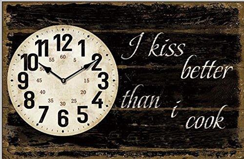 Tinas CollectionWanduhr mit dem Motiv I kiss Better Than I Cook, mit Quarzlaufwerk