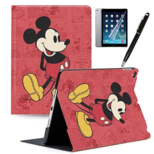 iPad 10.5' Case iPad Air 3 2019 Cover, Mickey Minnie PU Leather Cute Cartoon Stand Protective Smart Auto Sleep/Wake Case Compatible for Apple iPad 10.5 2017#B