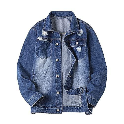 cappotto uomo 7xl GAOHONGMEI Uomo Strappato Plus Size Denim Giacche Cappotto Men Distressed Long Sleeve Jeans Casual Outwear Trucker Classic Top Denim Blue-7XL