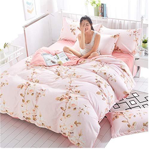 LWGY Aloe Vera katoenen dekbedovertrek 4-delig pak, beddengoed, slanke minimalistische stijl, geschikt voor 1,5 m, 1,8 m, 2,0 m bed, lakens *1 dekbedovertrek *1 kussensloop *2