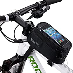 DCCN Fahrrad Rahmentasche Oberrohrtasche MTB Fahrradtasche Handy Tasche (passend bis zu 5,5 Zoll) mit klaren PVC-Schirm
