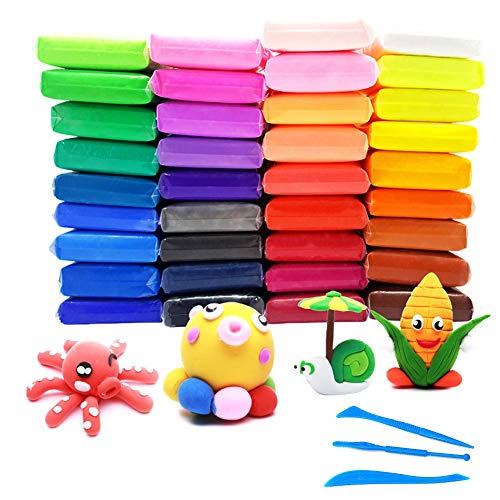 REYOK 36 Pack Modellierung Clay Ultra Light Luft trockenen Lehm Magic Clay Plasticine Künstler Studio Spielzeug für DIY Kunst und Handwerk Projekte Geschenk