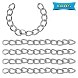 100Pcs Necklace Extension Chain (1.97 x 0.16 Inch) Stainless Steel Twist Extender Chain Removable Chain Extension Tails Chain DIY Jewelry Making for Necklace Bracelet Anklet Key Chain
