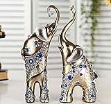 Xiner Adornos Decorativos de Resina Artificial, 2 Piezas/Set de Elefantes de decoración para la Madre y el niño