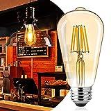 Led Edison Bulb Dimmable, Brightown 6Pcs 60 Watt Equivalent E26 Base Vintage Led Filament Bulb 6W, 480 Lumens, Amber White
