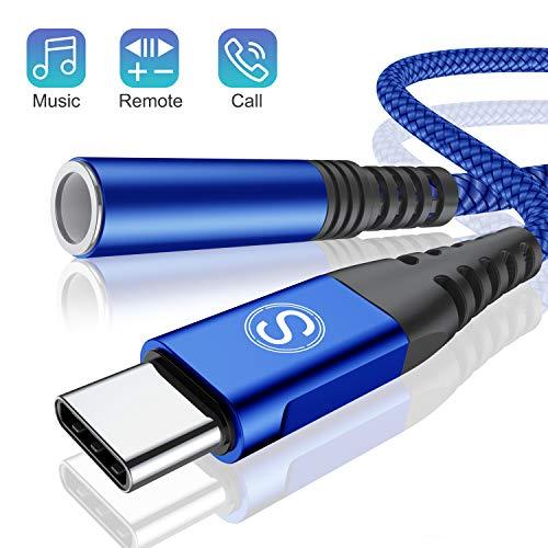 USB C auf 3,5 mm Kopfhörer Adapter, USB Typ C auf Jack AUX Audio Adapter für Huawei P30 Pro/P20/P20 Pro/Mate 10/20 Pro, Samsung Note 10/10+/A8/A80, One Plus 7/6T, Pixel 3/2/2XL XIAOMI8 (blau)