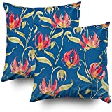 Yuanmeiju Throw Pillow Case Pillow Covers Tropical Orange Flowers Flame Lily Gloriosa Green Leaves Dark Set of 2 Throw Cushion Cover