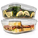 6.5 Cups/ 52 Oz 4 Piece (2 Containers +2 Lids) Glass Food Storage/ Baking Container Set w/...