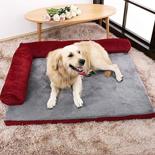 Yuly Cama ortopédica para perros de espuma viscoelástica, colchón ortopédico para mascotas para perros grandes, funda de pana suave y tela de terciopelo suave, desmontable y lavable.