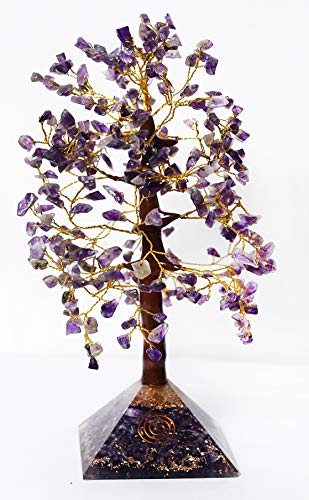Crystals Healing Stones Handmade Amethyst Crystal Pyramid Tree(Free Pendant) with Amethyst Chakra Pyramid Base 300 Gemstones Feng Shui Bonsai Christmas Tree Home Decorations Size 10-11 Inch Gold Wire
