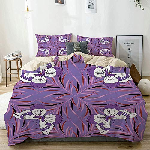 Zozun Duvet Cover Set Beige,Mauve Exquisite Butterfly Icons Ancient Animal Wings Fairy Illustration Print Lavender and White, Decorative 3 Piece Bedding Set with 2 Pillow Shams