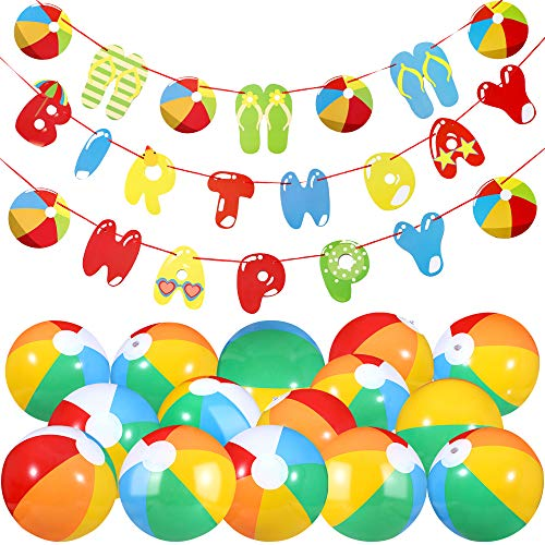 Beach Ball Happy Birthday Party Kit Include 10 Pieces Inflatable Beach Balls Rainbow Color Beach Balls and Beach Ball Happy Birthday Banner Pool Party Garland Decoration for Beach Party Supplies