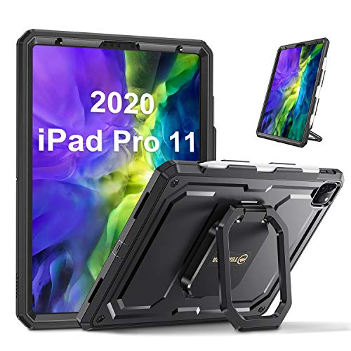 """Fintie Case for iPad Pro 11"""" 2020/2018- [Tuatara Magic Ring] 360 Degree Rotating Multi-Functional Grip Shockproof Rugged Cover with Pencil Holder [Supports 2nd Gen Pencil Charging Mode], Black"""