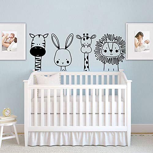 Wall Decals Wall Sticker Cartoon Zebra Rabbit Giraffe Lion Animal Laptop Car Kids Room Zoo Animal Jungle Bedroom Vinyl Decor 101x40cm