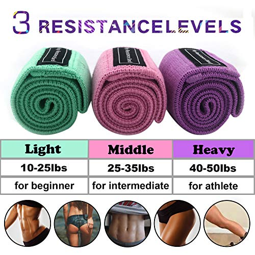 Workout Resistance Bands FUCNEN Fabric Fitness Booty Training Anti Slip Bands for Legs Glutes Butt Exercise Portable GYM Kits in Different Level Activate Muscle Build Core Strength For A Perfect Peach