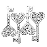 Valentine's Day Heart Key Metal Die Cuts, Cutting Dies Cut Stencils for DIY Scrapbooking Photo Album Decorative Embossing Paper Dies for Card Making Template
