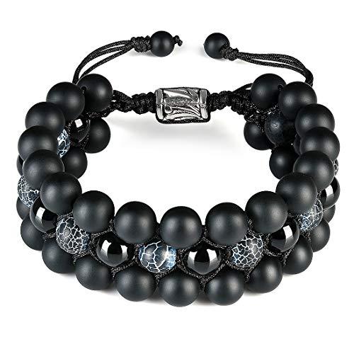 Cat Eye Jewels Mens Triple Layered Bracelet Beaded 8mm Semi-Precious Natural Healing Stones Black Matte Onyx Frosted Agate Beads Macrame Adjustable Bracelets for Men B006