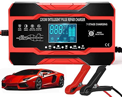 10A Autobatterie Ladegerät, 12V/24V Smart vollautomatische KFZ Batterieladegerät mit LCD-Bildschirm, geeignet für Auto LKW Motorrad Rasenmäher Boot Marine Batterien
