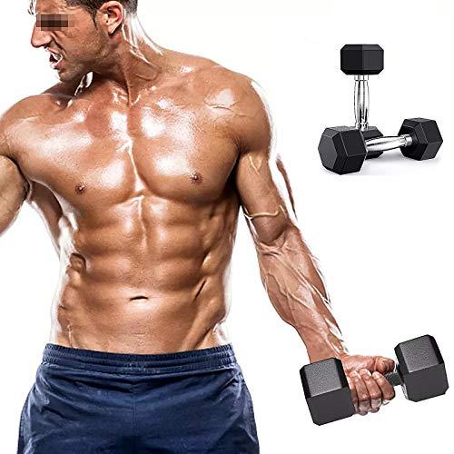 XIJING Sechseckiges Gummi-Hantel-Set/Gewichte Langhantel aus Gusseisen mit Metallgriffen für das Krafttraining im Fitnessstudio Wählen Sie das Gewicht (20 lb, 25 lb, 30 lb, 35 lb, 40 lb),10kg